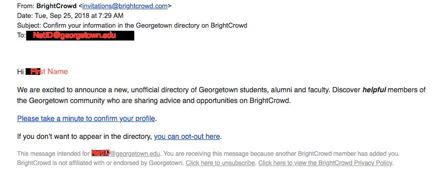 BrightCrowd legitimate email, no GU affiliation