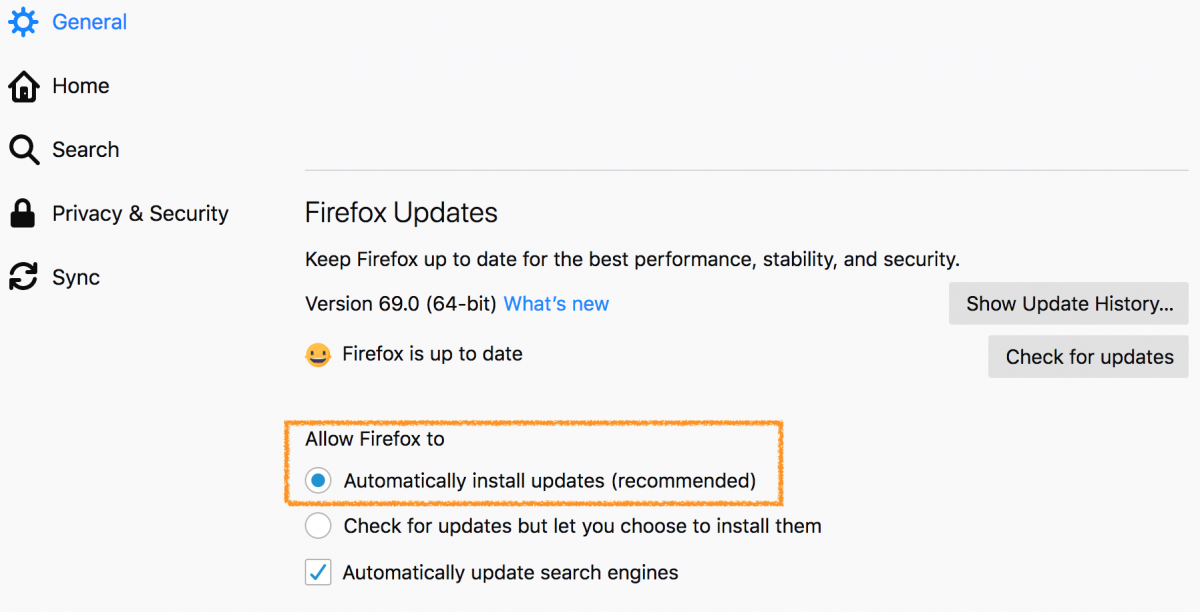 firefox automatic updates window