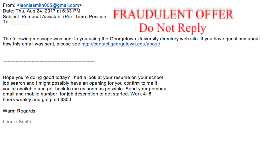 job offer scam phishing email example