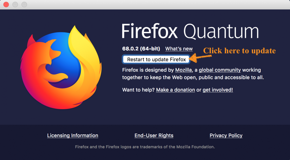 Firefox update window
