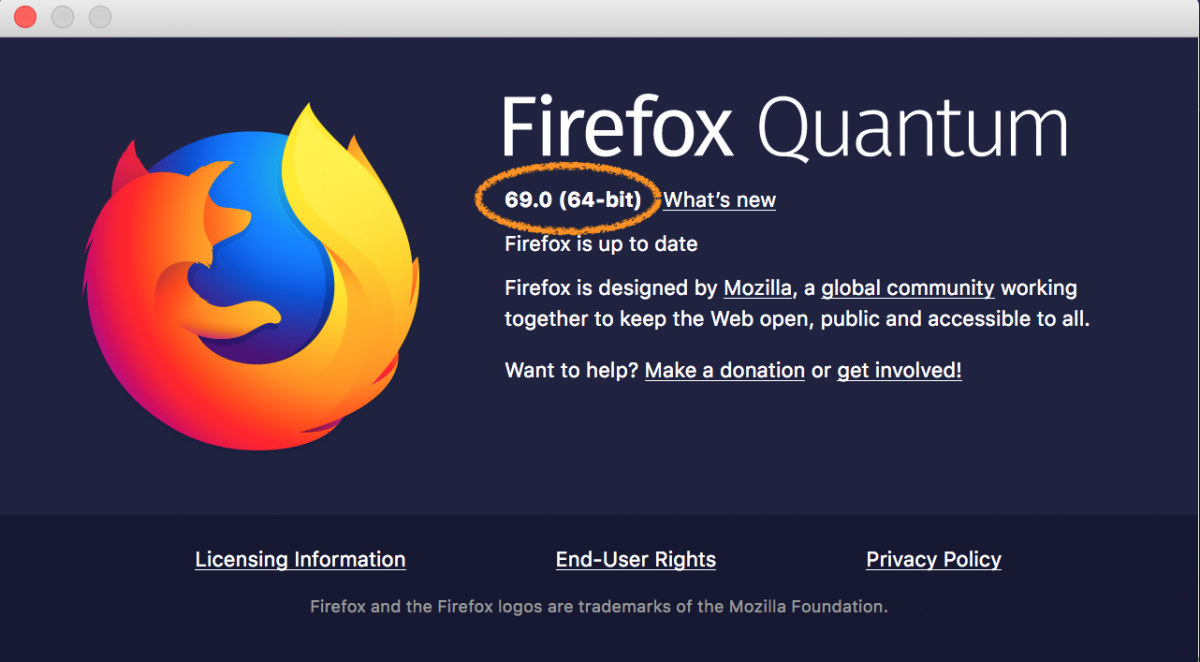 updated firefox version window