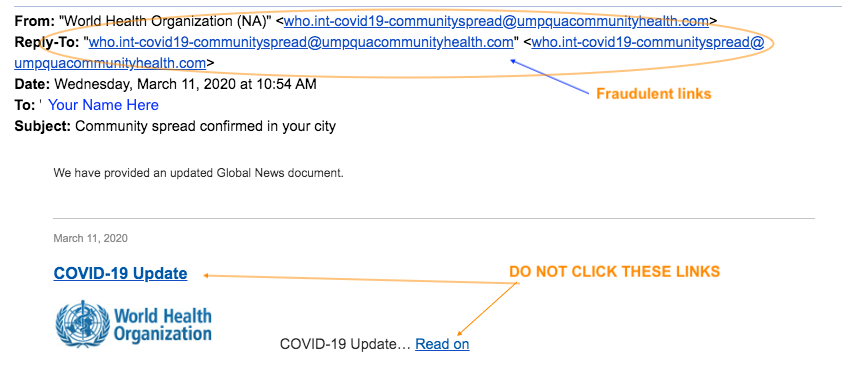 Image of a sample fraudulent email sent to Georgetown