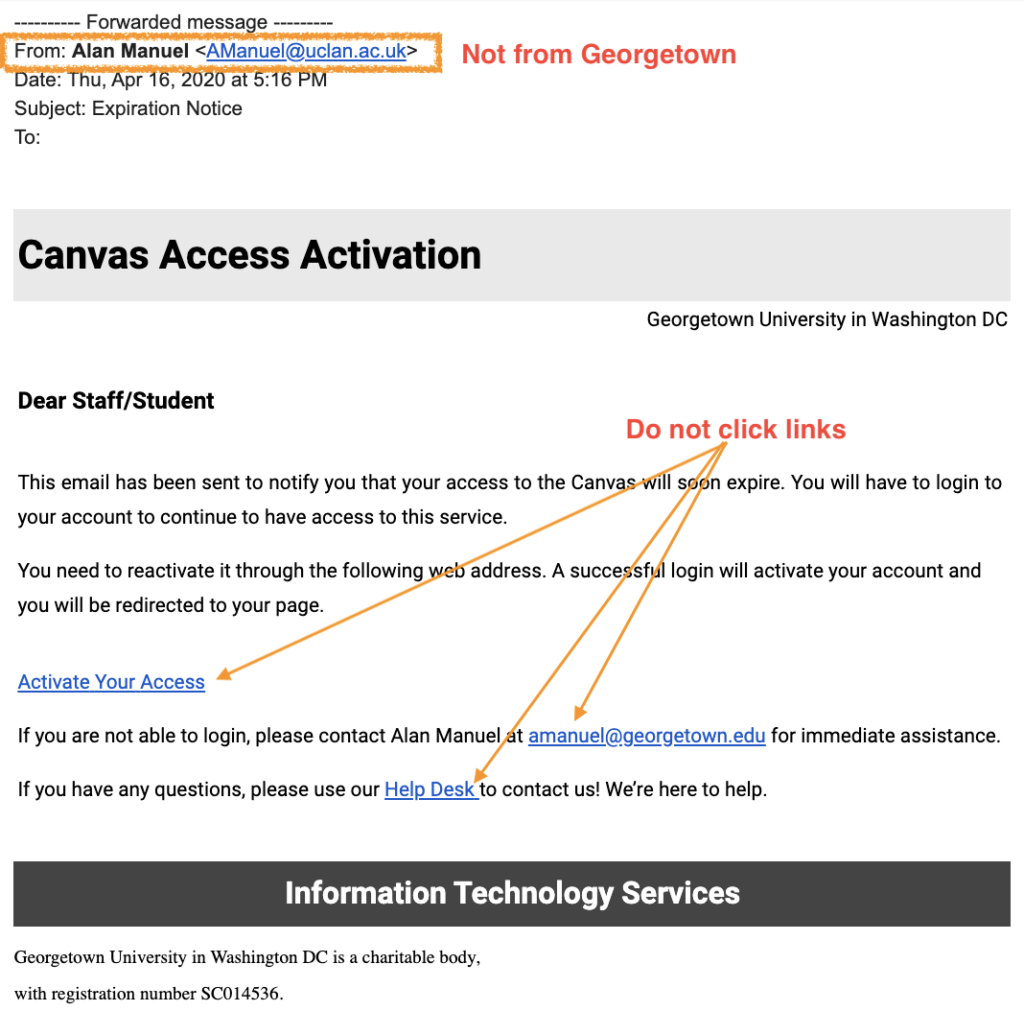 image of bogus canvas access activation email.