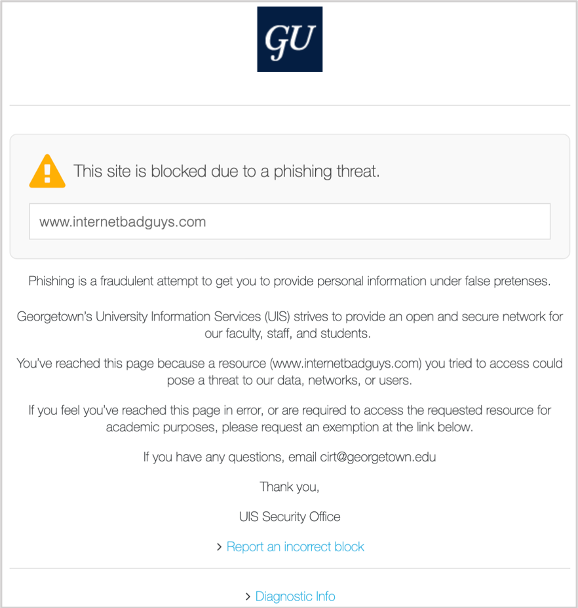image of This site is blocked due to a phishing threat.