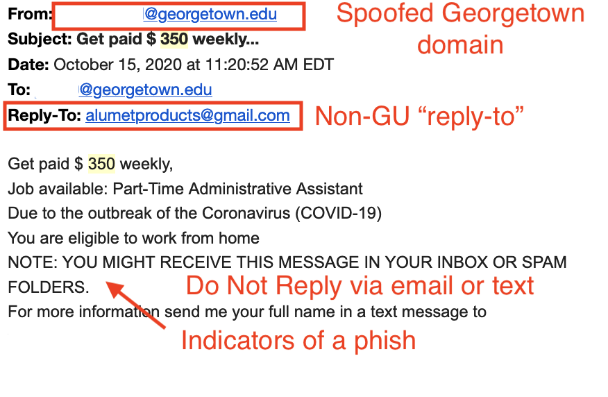 """Annotated image of the Work From Home Scam email. The """"From"""" line has a red box around it showing that the Georgetown domain was spoofed.  There is a red box around the Reply-To address, which is a Non-GU email address. At the bottom of the email there is a red arrow pointing to the indicators of a phish within  the body of the email text, and in red letters an annotation that says 'Do Not Reply via email of text'"""