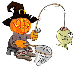 pumpkin head scarecrow with fish caught on a hook