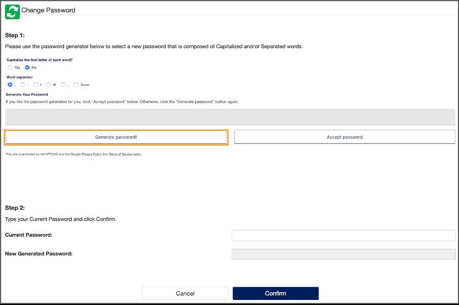 "Image of ""Change Password"" at password.georgetown.edu"