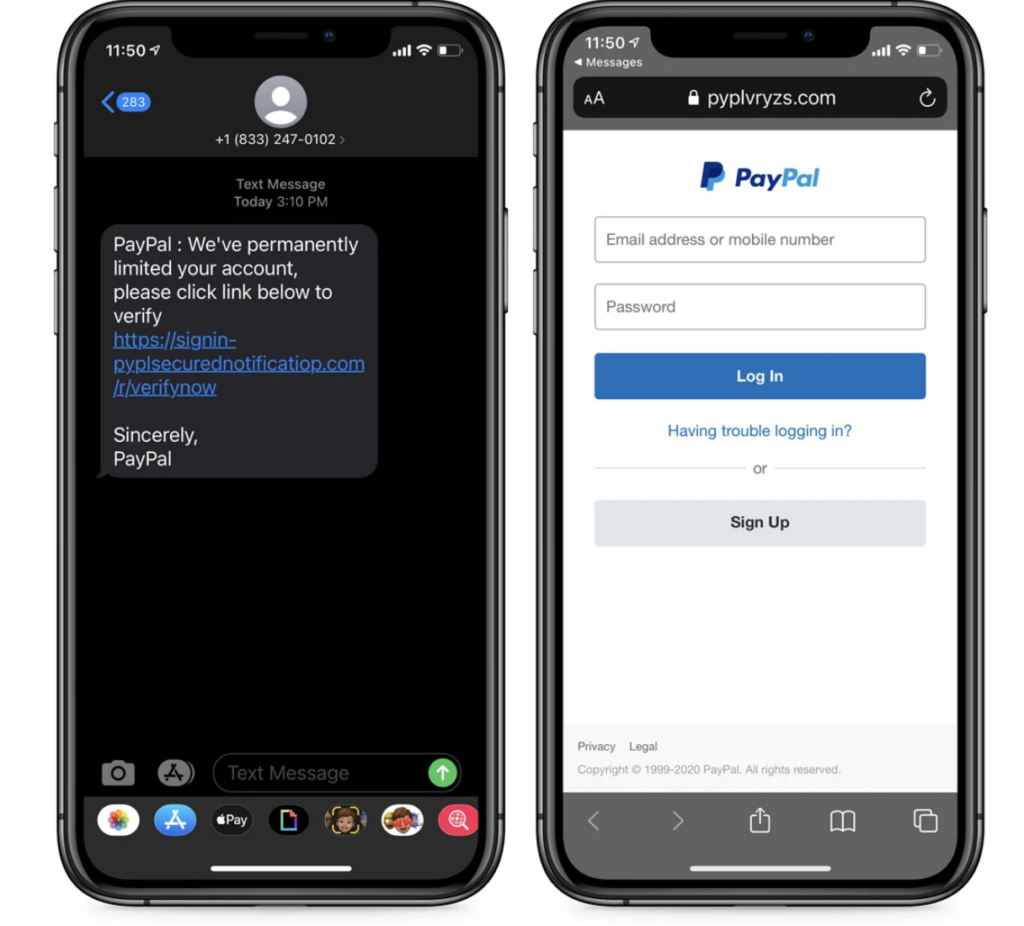 Image of PayPal smishing text and landing page