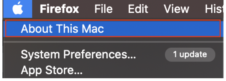"""Screen shot of Apple with """"About This Mac"""" in a Red Box."""