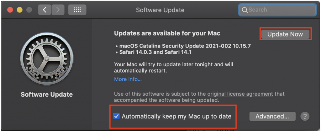 """Screenshot of Software Update with """"Update Now"""" in a red box and """"Automatically keep my Mac up to date"""" checked with a red box around it."""