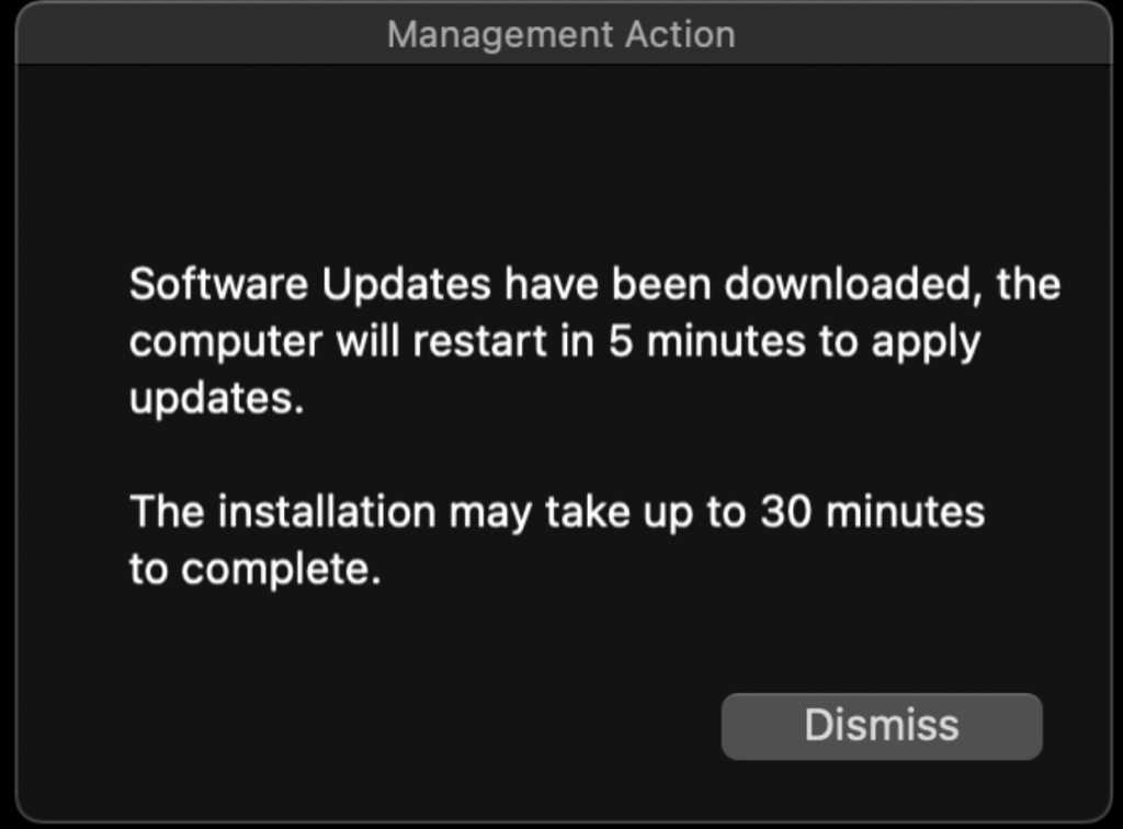 Screenshot of notification to user that software updates have been downloaded and that the computer will restart in 5 minutes to apply updates. The installation may take up to 30 minutes to complete.