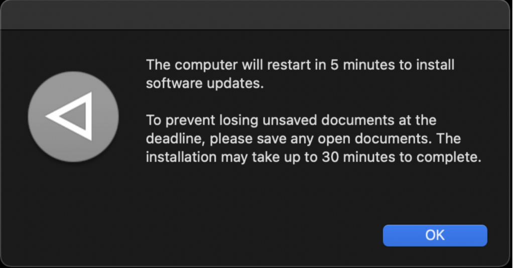 Additional notification that the computer will restart in 5 minutes and a reminder to save any open documents.